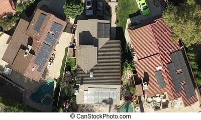 installed, toits, banlieue, panneaux, aérien, maisons, solaire