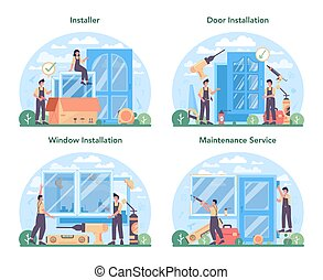Installer concept set. Worker in uniform installing window and door.