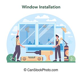 Installer concept. Worker in uniform installing window and door.