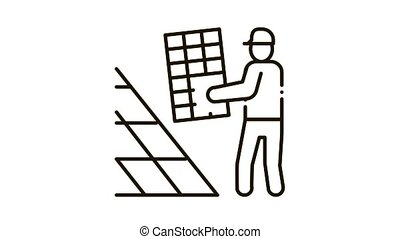 installer working solar battery Icon Animation. black installer working solar battery animated icon on white background