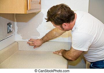 installeren, backsplash, countertop
