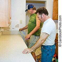 installeren, -, het meten, toonbank, keuken