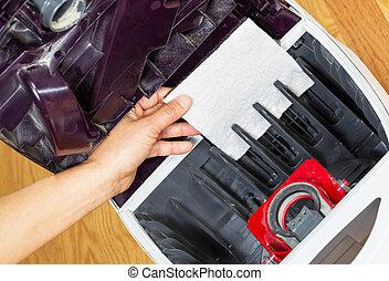 installieren, saubere luft, filter, in, staubsauger