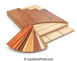 Installing laminate floor and wood samples. 3d
