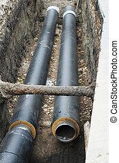 installing, pipes, для, горячий, воды, and, стим, обогрев