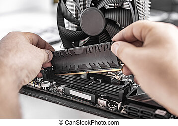 RAM. Installing random access memory into PC