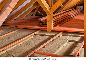 Installing thermal insulation - work in progress - Worksite...