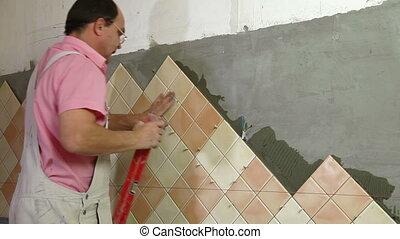 Installing Tiles - checking level