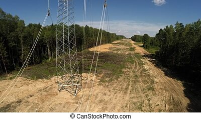 Installing transmission lines. Electricity. Power lines. 96....