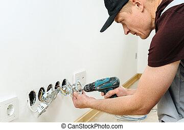 installs, électricien, électrique, outlets.