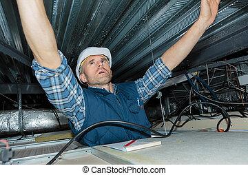 installs, électricien, plafond, câblage