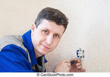 installs, électrique, apartment., électricien, sortie
