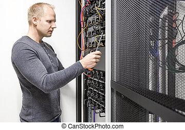 installs, comunicazione, scaffale, in, datacenter