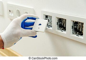 installs, décoratif, électricien, frame.