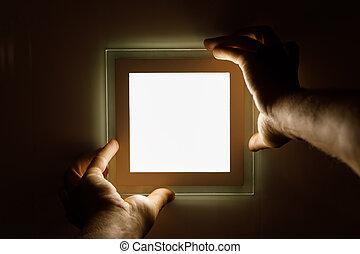 installs, lumière, mené, électricien