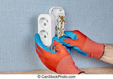 installs, mur, outlet., électricien