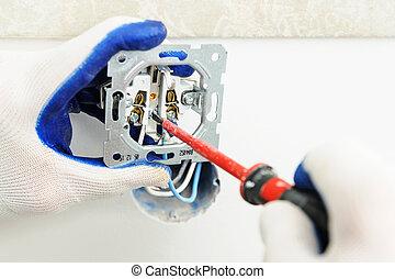 installs, outlet., électrique, électricien