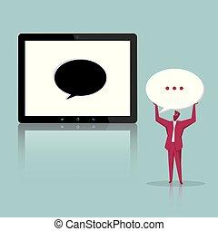 installs, tablet., symbool., toespraak, zakenman, bel