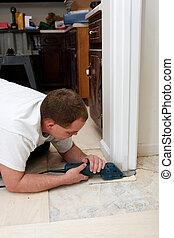 instalowanie, nowy, podłoga