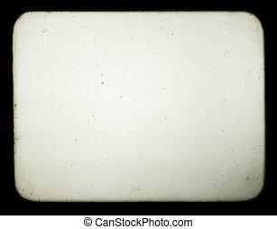 instantâneo, de, um, tela branco, de, antigas, projetor...