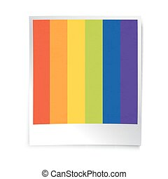 Instant blank photo template with rainbow picture. Empty photo frame template. Retro vintage photo frame background.