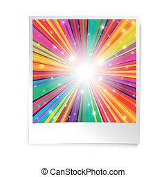 Instant blank photo template with rainbow psychedelic rays.  Retro vintage photo frame background.