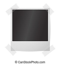 instant, cadre, photo, isolé, wall., réaliste, vecteur, vide, blanc, sticked