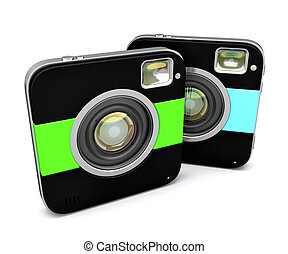 Instant camera. Isolated. Contains clipping path