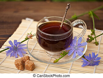 instant chicory in beautiful cup on wooden background