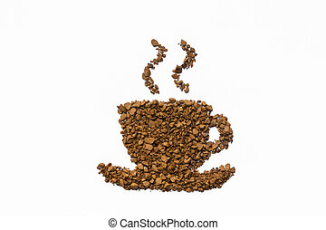 instant coffee cup shape on white background