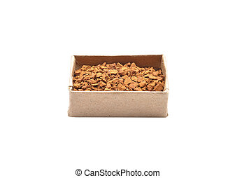 Instant Coffee in paper box on white background