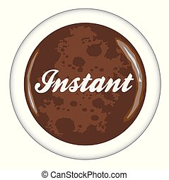 Top view of a cup of Instant Coffee over a white background
