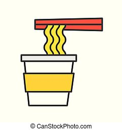 instant noodle cup and chopsticks, food and gastronomy set, filled outline icon