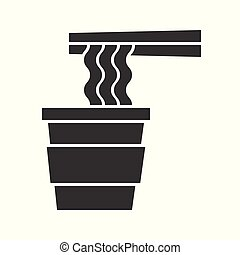 instant noodle with chop sticks, food and beverage set, glyph design icon