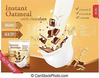 Instant oatmeal with chocolate advert concept. Milk flowing into a bowl with grain and chocolate. Vector.