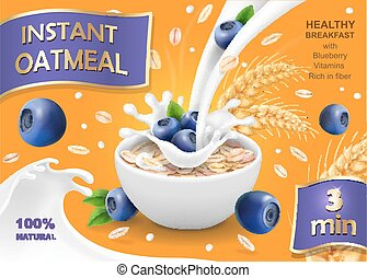 Instant oatmeal with milk, blueberry and oat advertising, vector illustration