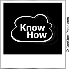 instant photo frame with cloud and know how word, business concept