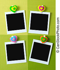 Instant photo frames with heart shape peg - Four instant...