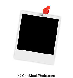 Instant photo with pin vector illustration
