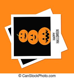 Instant photo with three funny pumpkins. Halloween card. Flat design.