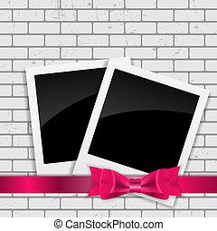 Instant Photos on Grunge Brick Background Vector...