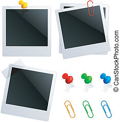 Set of blank instant photos, color pushpins and clips.