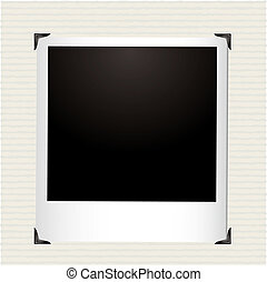 Single instant picture in a photo album with corner frame