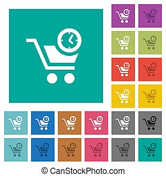 Instant purchase square flat multi colored icons