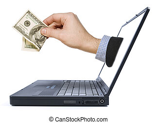 A hand with a dollar bill appears from the laptop screen.