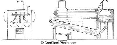 Instant steam boiler, vintage engraving.