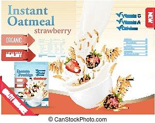instante, concept., tazón, harina de avena, anuncio, fresa, grano, vector., fluir, strawberry., leche