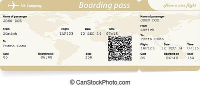 instappen, beeld, vector, luchtroute, bergpas, ticket