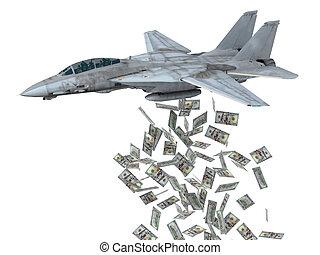 instead, dólares, warplane, lanzamiento, bombas