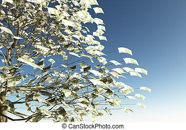 instead, hojas, cuentas, 100, euro